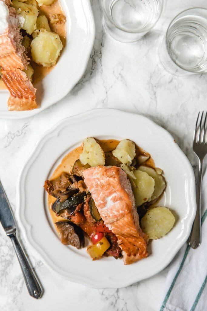 Ratatouille with salmon and garlic potatoes