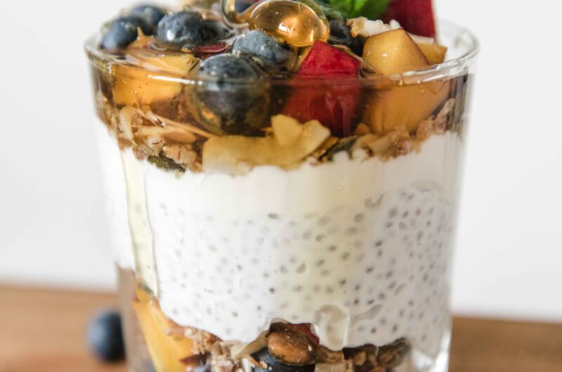 Three chia pudding recipes with fruit and granola