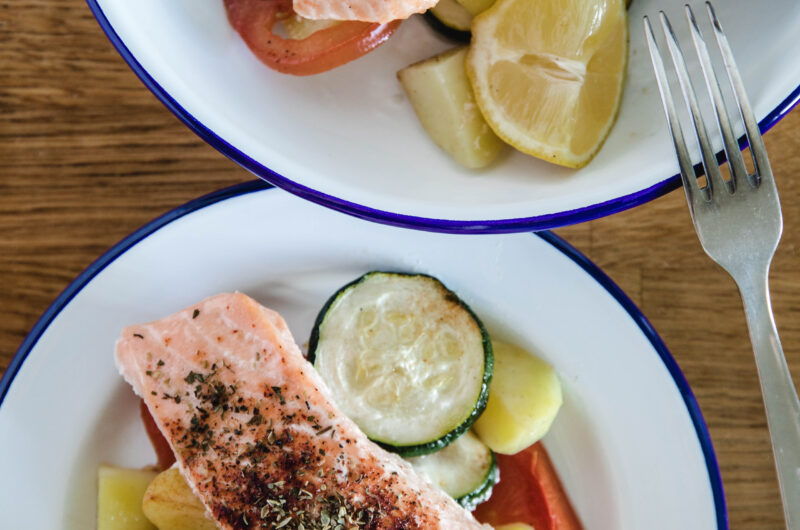 Salmon Zucchini And Tomato Dinner