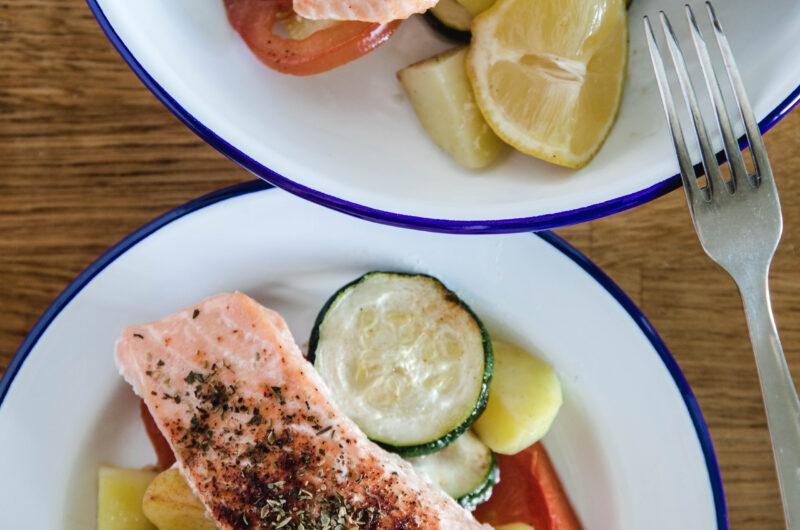 Salmon Zucchini And Tomato Dinner