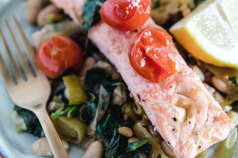 Healthy Salmon With Beans And Tomatoes