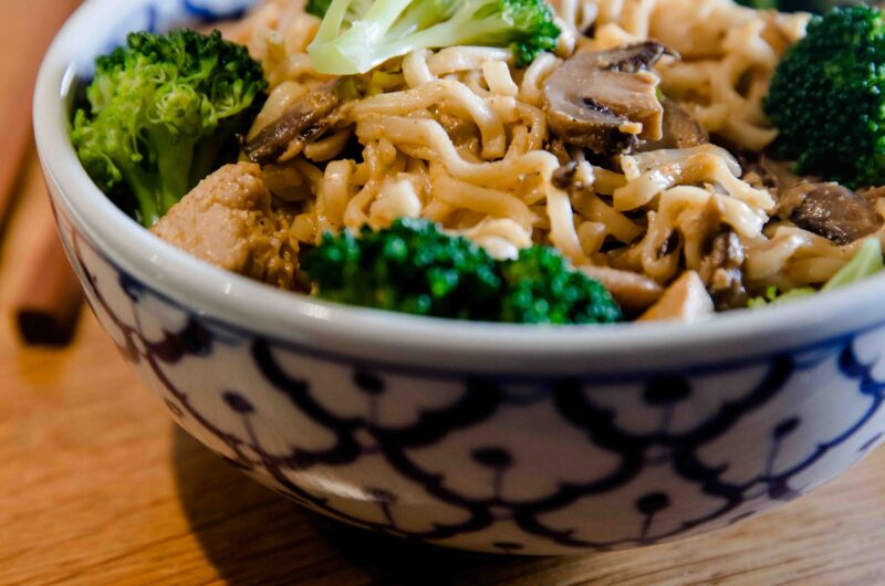 Creamy Noodles With Chicken Mushrooms And Broccoli