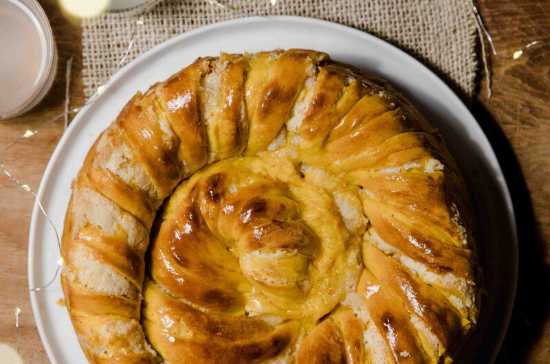 Saffron Spiral Bread With Almond Paste